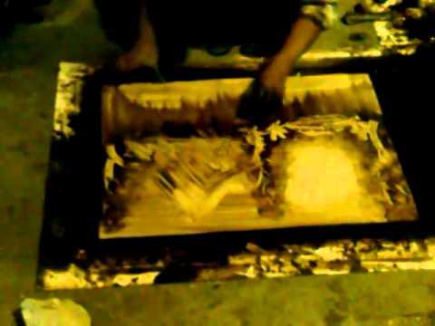 Cuadros pintados a mano con petr leo youtube for Cuadros pintados a mano