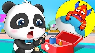 Bad Germs on Baby Panda's Leg | Doctor Pretend Play | Potty Song | Nursery Rhymes | BabyBus