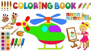 Baby Kids TV Drawing and Painting - Coloring book airplane for children's - How to Painting Planes