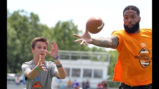 Odell Beckham Jr. plays one-on-one football at his ProCamp for youth