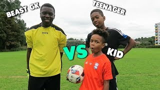 Kid vs Teenager vs BEAST GOALKEEPER!! | Free Kick Challenge!!