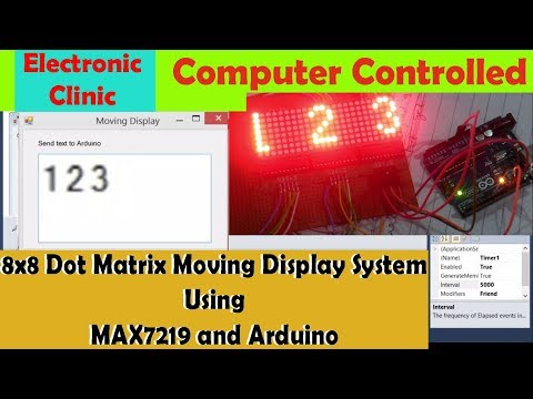 "8x8 dot matrix Moving Display, ,MAX7219 and Arduino | Computer Controlled 8x8 dot matrix  "" vb.net"""