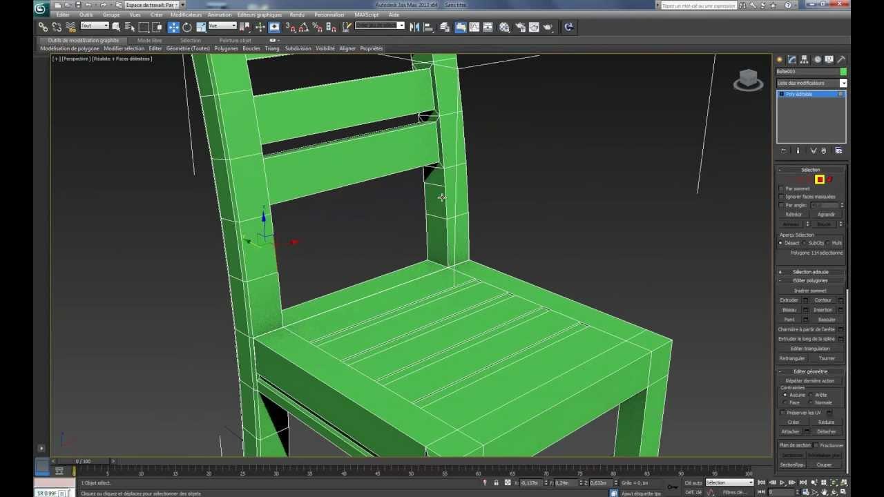 Mod lisation d 39 une chaise 3ds max youtube for Mesure d une chaise
