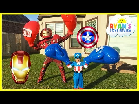 Caption America Civil War vs Iron Man Avengers Giant Boxing Challenge Egg Surprise Toys Disney Cars