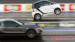 "WHEELSTANDING ""BLOWN"" SMART CAR OUTRUNS MUSTANGS!!"