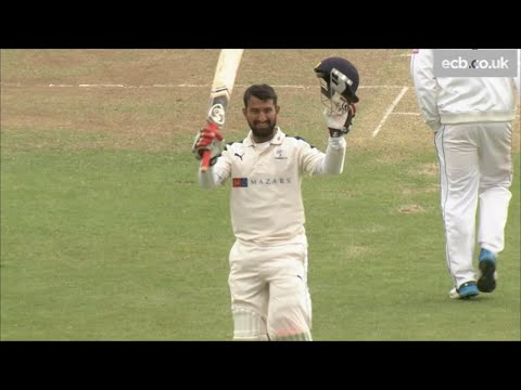 India cricket star Cheteshwar Pujara scores a century for Yorkshire v Hampshire