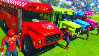 LEARN COLOR BUS w Fun BIG Cars Superheroes for Kids Spiderman Cartoon 3D Animation #1