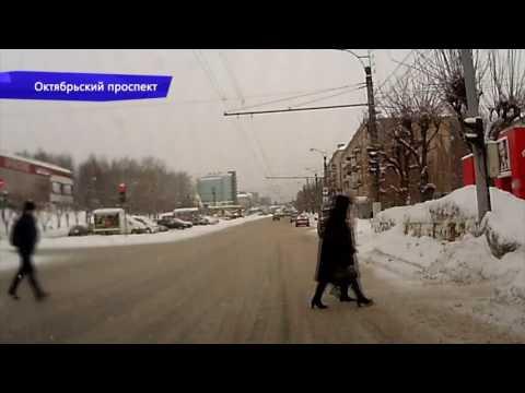Видеорегистратор. ДТП фургон и «четвёрка» Ленина. Место происшествия 13.02.2017