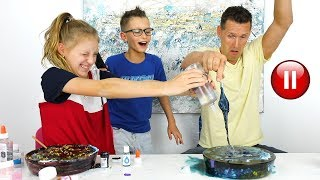 PAUSE SLIME CHALLENGE with Our DAD!!!