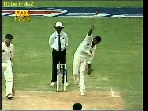 RARE Harbhajan Singh FIRST WICKET IN TEST CRICKET!!! Greg Blewett the victim.