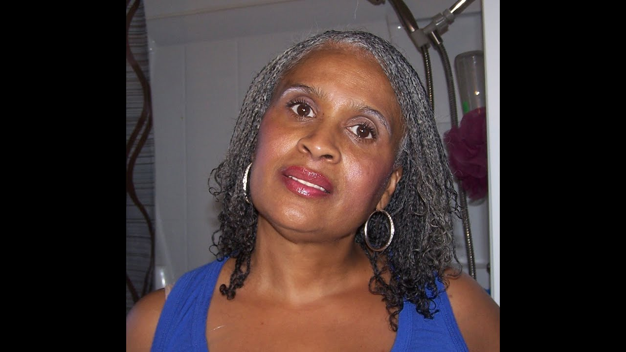 Grey Crochet Hair Styles : Mini Braids on Natural Silver/Gray Hair. - YouTube