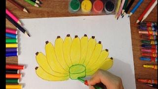 dạy bé vẽ tranh - day bé vẽ nải chuối - vẽ quả chuối đơn giản/How banana drawing