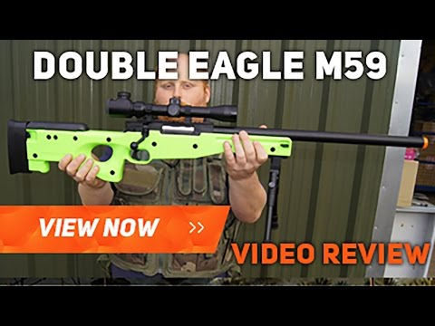 DOUBEL EAGLE M59 SNIPER RIFLE BB GUN AIRSOFT REVIEW AND SHOTING TEST
