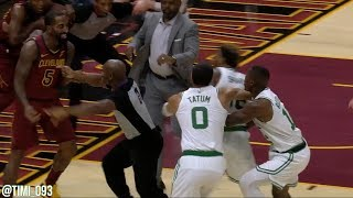 JR Smith and Aron Baynes gets tangled up, Marcus Smart goes after JR and gets ejected