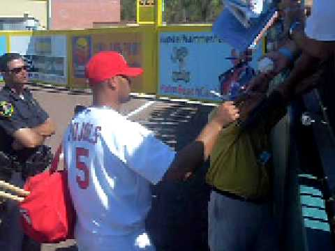 Albert Pujols signing autographs spring training.