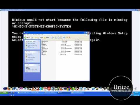 PC Repair: File missing or corrupt: \windows\system32\config\system\