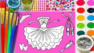 Learn to Color Ballerina Tutu Coloring Pagefor Children to Learn Color with Glitter Watercolor Paint