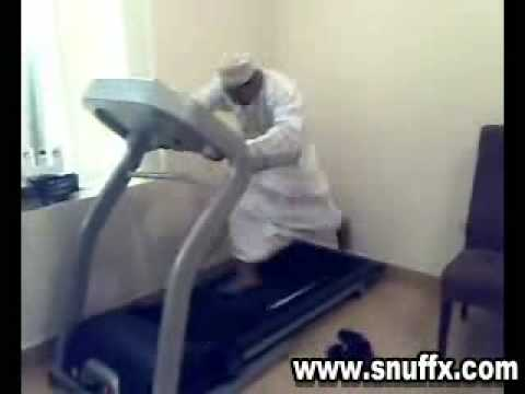 Arab Guy Working Out On Treadmill     Funny