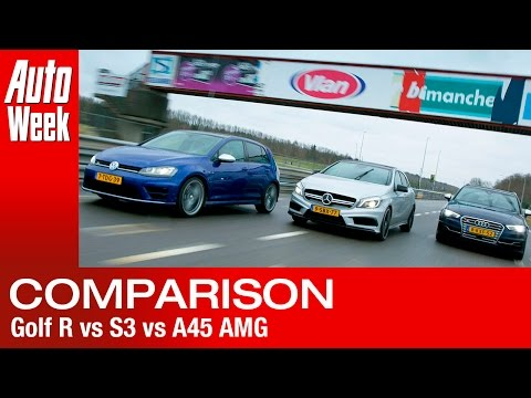 VW Golf R vs. Audi S3 vs. Mercedes A45 AMG (English subtitled)