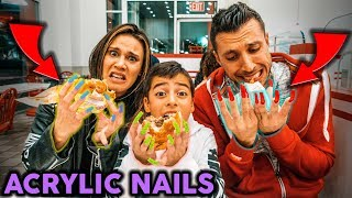 OUR FAMILY GOT SUPER LONG ACRYIC NAILS!! **GONE WRONG** | The Royalty Family