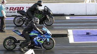 GSXR 1000 vs Kawasaki Ninja zx14 - drag race