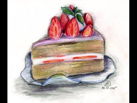 Как нарисовать сложный торт