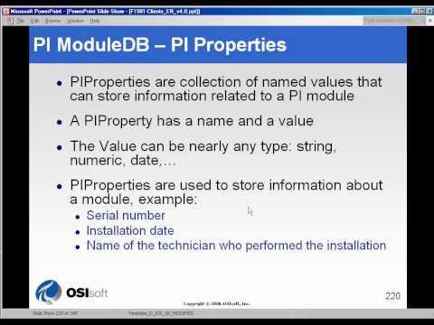 OSIsoft: PI Properties in the PI Module Database (MDB). v3.1