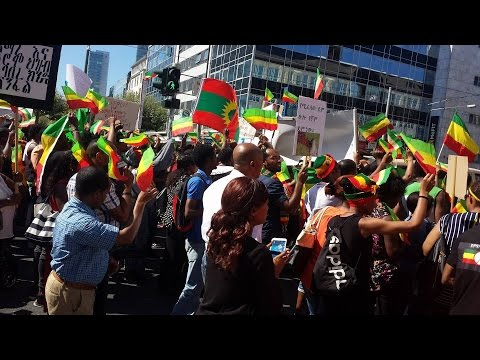 Massive Ethiopians Protest Underway In Frankfurt Germany