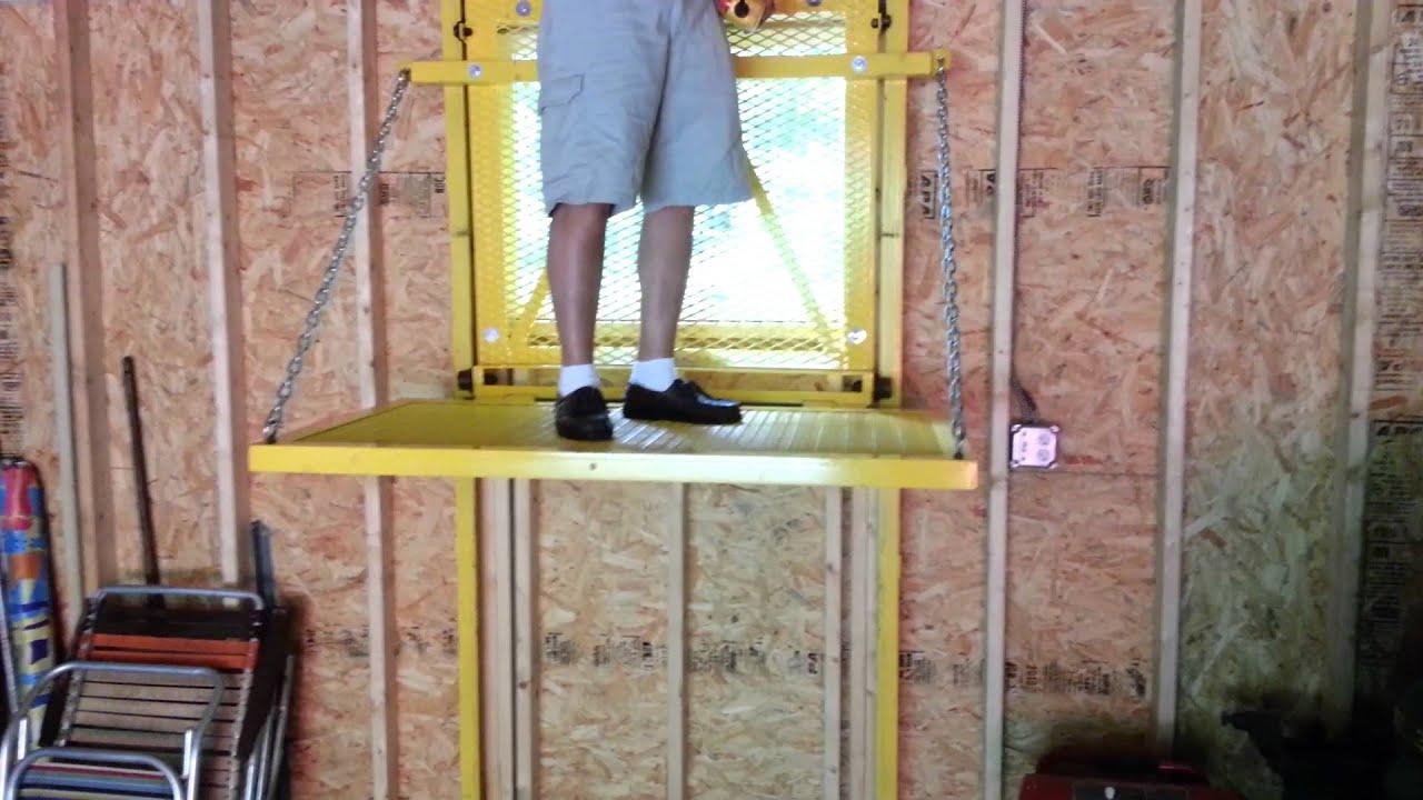 Barn elevator lift youtube for Garage elevator lift