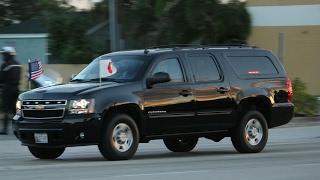 Japanese Prime Minister Shinz? Abe's motorcade departing Mar-A-Lago Palm Beach.