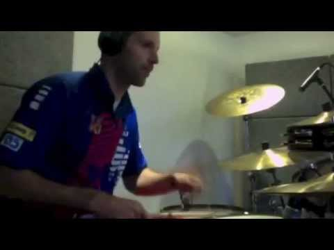 Chelsea goalkeeper Petr Cech playing the drums (Eye of Tiger)