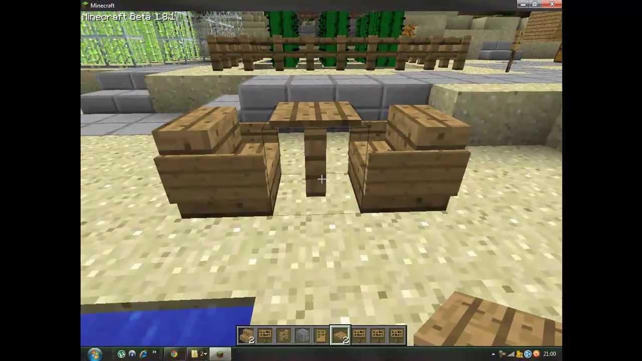 Minecraft como hacer sillas y mesas youtube for Sala de estar no minecraft