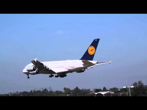 INAUGURAL Lufthansa Airbus A380 Landing at Los Angeles International Airport