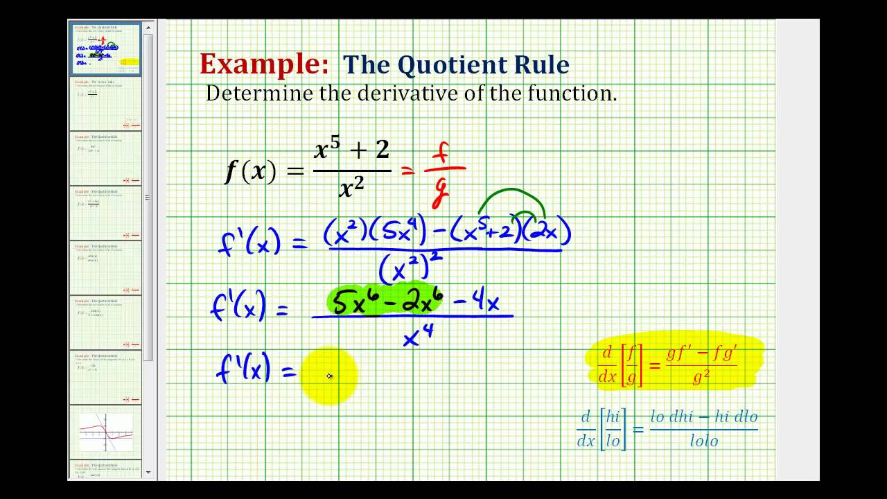 Ex 1: Determine a Derivative Using the Quotient Rule - YouTube