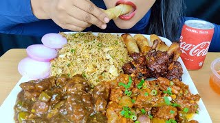 ASMR:EGG FRIEDRICE *RECIPE*+EATING EGG FRIED RICE,CHICKEN MANCHURIAN,CHILLI CHICKEN,CHICKEN LOLLIPOP