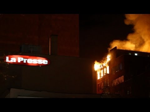 Old Montreal fire near La Presse