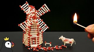 How to Make a Match Windmill With Glue and Burn it