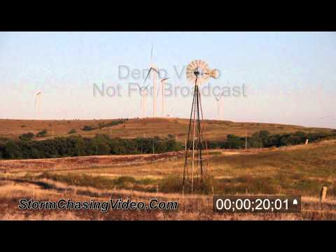 Windmill - Wind Farm Electric Farm Stock footage B-Roll