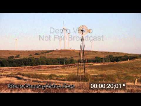 Windmill - Wind Farm Electric Farm Stock footage B-Roll