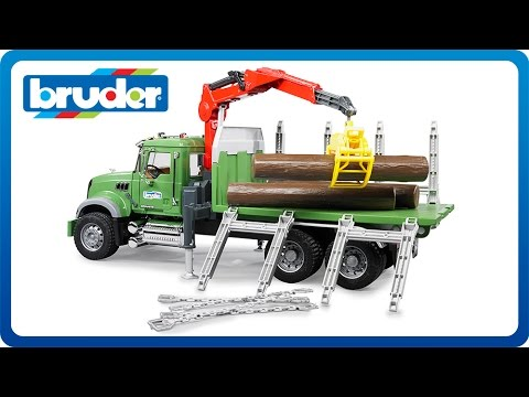 Bruder Toys MACK Granite Timber truck with loading crane and 3 trunks # 02824