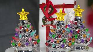 Mr. Christmas Set of 4 Lit Nostalgic Tree Ornaments with Gift Bags on QVC