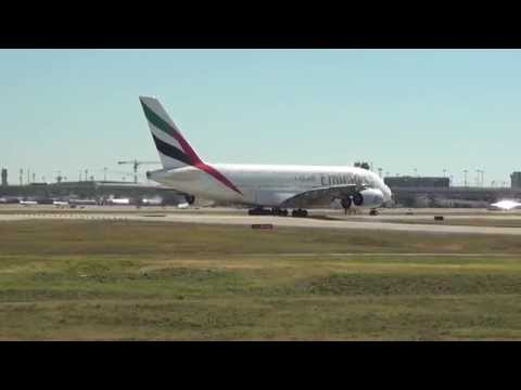 Emirates Airlines A380-800 Departs Dallas-Fort Worth International Airport