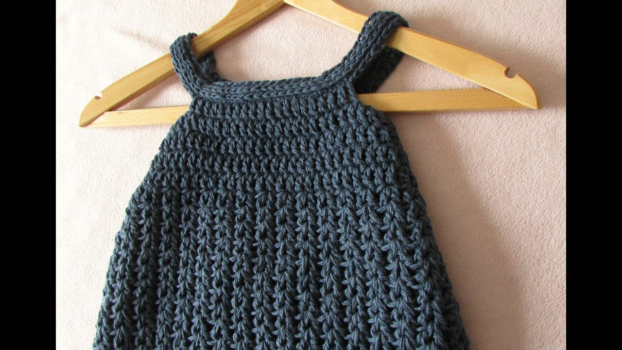 VERY EASY crochet baby / girls pinafore dress tutorial ...
