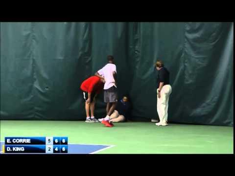 Darian King throws his racket and injures linejudge