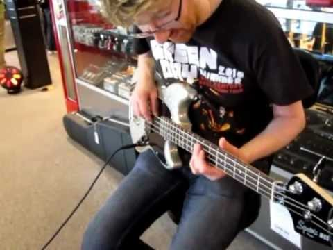 Testing a Mikey Way Squier Bass in Manchester.