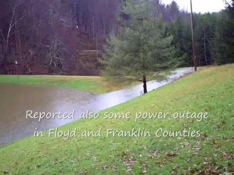 Heavy Rain in Floyd Virginia Creeks Running over Banks 11 11 09
