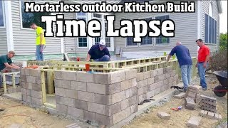 DIY Outdoor kitchen build with Before and After time lapse