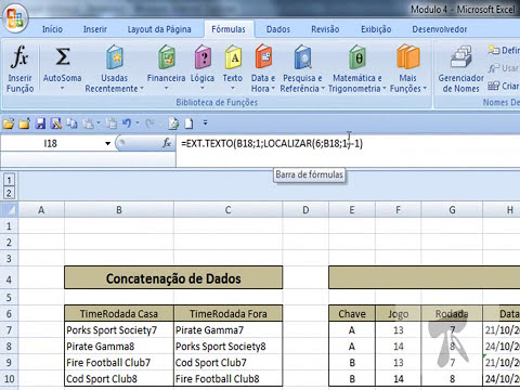Excel 2007 - Modulo 4   Aula 20   Funcoes de Texto   ExtTexto e Localizar