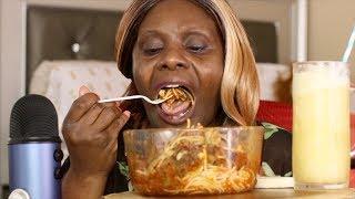 Big Bowl Spaghetti ASMR Eating Sounds