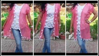 Recycle Old Dupatta Into Long Shrug | Pom Pom shrug DIY